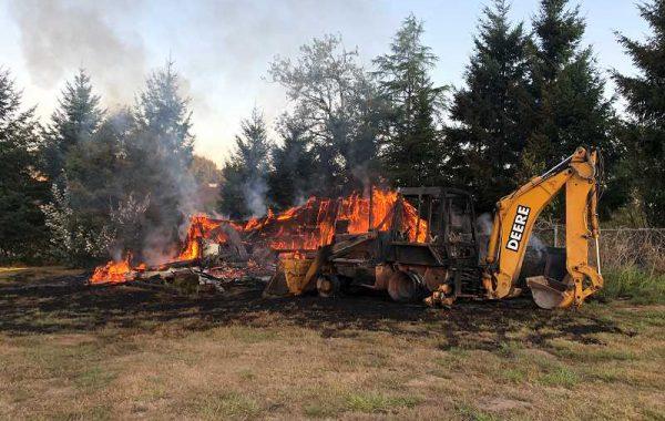 Fire destroys shed near Luscher Farm in Lake Oswego